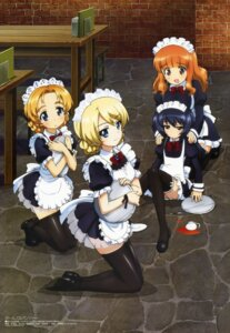 Rating: Safe Score: 82 Tags: darjeeling girls_und_panzer maid orange_pekoe reizei_mako sugimoto_isao takebe_saori thighhighs waitress User: drop