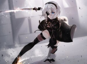 Rating: Safe Score: 22 Tags: cleavage dress eyepatch heels nier_automata skirt_lift sword thighhighs vardan yorha_no.2_type_b User: mash