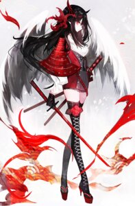 Rating: Safe Score: 49 Tags: armor heels horns moemoe3345 pointy_ears sword thighhighs User: Mr_GT