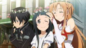 Rating: Safe Score: 33 Tags: asuna_(sword_art_online) game_cg kirito sword_art_online tagme yui_(sword_art_online) User: RyuZU