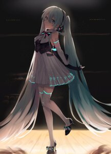 Rating: Safe Score: 34 Tags: hatsune_miku heels moegi0926 tattoo thighhighs vocaloid User: Mr_GT