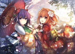 Rating: Safe Score: 67 Tags: hieda_no_akyuu janne_cherry kimono motoori_kosuzu touhou umbrella User: Mr_GT