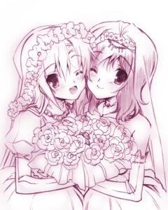 Rating: Safe Score: 20 Tags: crossover dress hayate_no_gotoku katsura_hinagiku monochrome saki senomoto_hisashi takei_hisa wedding_dress yuri User: hk_200