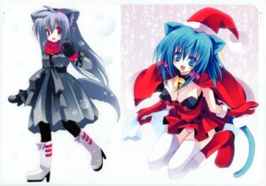 Rating: Safe Score: 10 Tags: animal_ears christmas cleavage kannon_ouji neuromancer. pantsu tail thighhighs User: fireattack