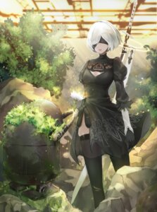 Rating: Safe Score: 25 Tags: cleavage dress nier_automata sword tagme thighhighs yorha_no.2_type_b User: Mr_GT