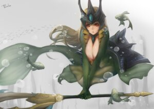 Rating: Questionable Score: 60 Tags: armor cleavage league_of_legends mermaid nami_(league_of_legends) nipples sky_of_morika weapon User: fairyren