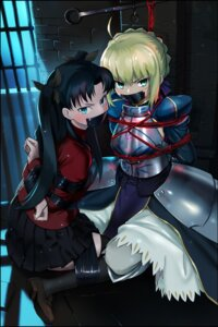 Rating: Questionable Score: 21 Tags: armor bondage fate/stay_night saber sharpfffff thighhighs toosaka_rin User: Mr_GT