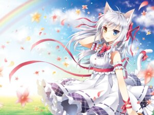Rating: Safe Score: 46 Tags: animal_ears heterochromia mauve nekomimi tail wallpaper User: blooregardo