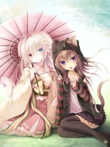 Rating: Safe Score: 21 Tags: animal_ears chamio77 heterochromia inumimi japanese_clothes nekomimi tail thighhighs umbrella User: BattlequeenYume