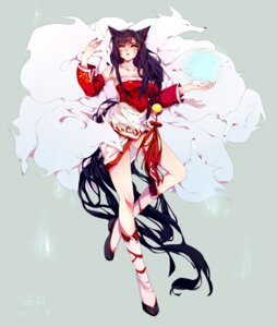 Rating: Questionable Score: 33 Tags: ahri animal_ears cleavage kitsune league_of_legends tail yannysha User: fairyren