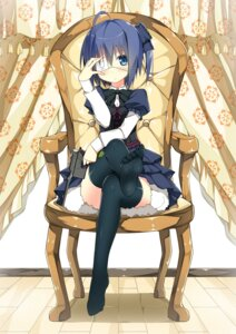 Rating: Safe Score: 98 Tags: chuunibyou_demo_koi_ga_shitai! dress eyepatch feet gun sky-freedom takanashi_rikka thighhighs User: aihost