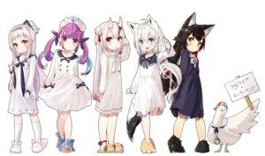 Rating: Questionable Score: 36 Tags: animal_ears hololive horns minato_aqua murasaki_shion nakiri_ayame nuko_miruku ookami_mio seifuku shirakami_fubuki tail User: sym455