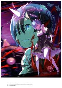 Rating: Safe Score: 40 Tags: blood cleavage horns maid ootsuka_shinichirou re_zero_kara_hajimeru_isekai_seikatsu rem_(re_zero) stitchme thighhighs weapon User: NotRadioactiveHonest