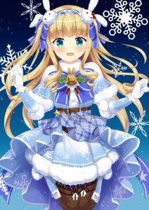 Rating: Questionable Score: 20 Tags: christmas dress kurumi_lm mononobe_alice nijisanji thighhighs User: sym455