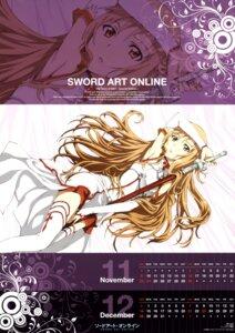 Rating: Safe Score: 20 Tags: asuna_(sword_art_online) calendar kawakami_tetsuya sword sword_art_online thighhighs User: Radioactive