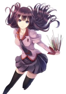 Rating: Safe Score: 100 Tags: bakemonogatari jpeg_artifacts paseri seifuku senjougahara_hitagi thighhighs User: Nekotsúh