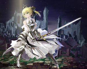 Rating: Safe Score: 62 Tags: armor dress fate/stay_night okingjo saber saber_lily sword User: Radioactive