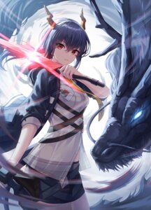 Rating: Safe Score: 37 Tags: arknights ch'en_(arknights) cow-ring horns monster see_through sword tail User: Dreista