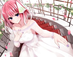 Rating: Safe Score: 31 Tags: 5-toubun_no_hanayome cleavage dress fuu_(fuore) nakano_nino no_bra see_through wedding_dress User: hkr008