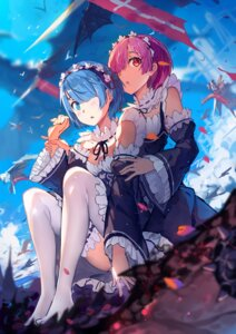 Rating: Safe Score: 85 Tags: baisi_shaonian cleavage maid ram_(re_zero) re_zero_kara_hajimeru_isekai_seikatsu rem_(re_zero) thighhighs User: Mr_GT