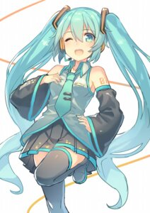 Rating: Safe Score: 34 Tags: hajime_kaname hatsune_miku tattoo thighhighs vocaloid User: Mr_GT