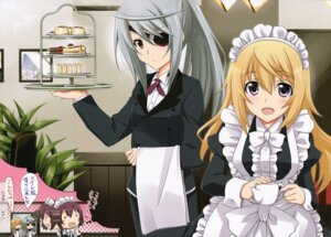 Rating: Safe Score: 40 Tags: charlotte_dunois eyepatch infinite_stratos laura_bodewig maid screening yamaki_rin User: Velociraptor