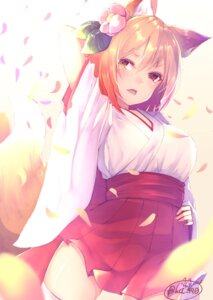 Rating: Safe Score: 57 Tags: animal_ears chita_(ketchup) kitsune miko tail thighhighs User: Mr_GT