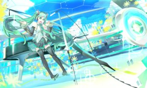 Rating: Safe Score: 12 Tags: 119 hatsune_miku headphones thighhighs vocaloid wallpaper User: eridani