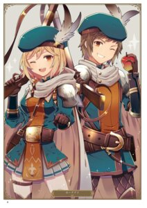 Rating: Safe Score: 8 Tags: armor ayt djeeta_(granblue_fantasy) garter gran_(granblue_fantasy) granblue_fantasy thighhighs weapon User: Twinsenzw