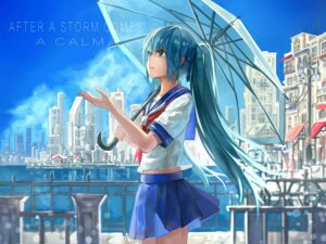 Rating: Safe Score: 36 Tags: hatsune_miku konkou_seishou seifuku umbrella vocaloid User: Mr_GT
