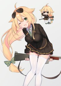 Rating: Safe Score: 4 Tags: chibi girls_frontline kinako_kona m1918_(girls_frontline) megane thighhighs uniform weapon User: hiroimo2