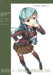 Rating: Safe Score: 34 Tags: hino_katsuhiko kantai_collection seifuku suzuya_(kancolle) thighhighs User: Mr_GT