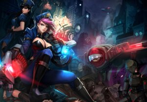 Rating: Safe Score: 55 Tags: ake_(cherrylich) caitlyn cleavage gun heels jinx league_of_legends mecha megane open_shirt police_uniform tattoo vi_(league_of_legends) User: Mr_GT
