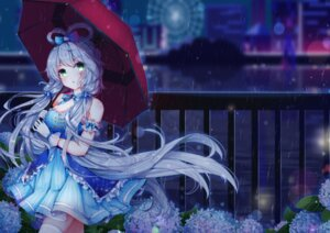 Rating: Safe Score: 26 Tags: cleavage dress luo_tianyi thighhighs umbrella vocaloid wet yuri_to_hizakura User: Arsy