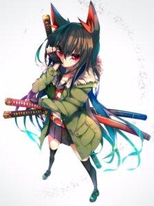 Rating: Safe Score: 58 Tags: amakawa_sakko animal_ears bandaid seifuku sword thighhighs User: nphuongsun93