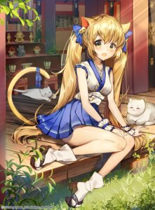 Rating: Safe Score: 44 Tags: animal_ears japanese_clothes neko nekomimi onew tail User: Mr_GT