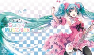 Rating: Safe Score: 39 Tags: dress guitar hatsune_miku headphones rahwia thighhighs vocaloid User: charunetra