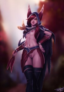 Rating: Explicit Score: 18 Tags: animal_ears bandages breasts league_of_legends nipples no_bra nopan personal_ami pubic_hair pussy uncensored xayah User: dick_dickinson