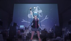 Rating: Safe Score: 45 Tags: bandaid guitar hatsune_miku headphones mivit vocaloid watermark User: RyuZU