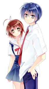 Rating: Safe Score: 5 Tags: clannad furukawa_nagisa kurabayashi_matoni okazaki_tomoya seifuku User: charunetra
