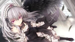 Rating: Safe Score: 72 Tags: endcard gothic_lolita lolita_fashion rozen_maiden suigintou tousen wallpaper wings User: milumon