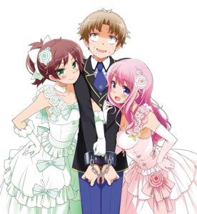 Rating: Questionable Score: 38 Tags: baka_to_test_to_shoukanjuu bondage cleavage dress haga_yui himeji_mizuki shimada_minami wedding_dress yoshii_akihisa User: h71337