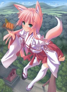 Rating: Safe Score: 25 Tags: animal_ears higuchi_isami kitsune miko thighhighs User: fireattack