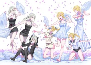 Rating: Safe Score: 35 Tags: artoria_pendragon_alter_(fate/grand_order) arturia_pendragon_(lancer) cleavage dress fate/grand_order feet heroine_x heroine_x_alter megane nipi27 pajama pantsu saber saber_alter saber_lily thighhighs User: Mr_GT