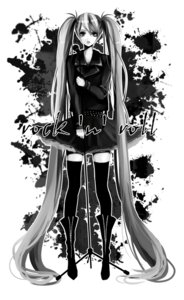 Rating: Safe Score: 7 Tags: coma hatsune_miku monochrome thighhighs vocaloid User: yumichi-sama