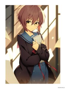 Rating: Safe Score: 33 Tags: hwansang megane nagato_yuki seifuku suzumiya_haruhi_no_yuuutsu sweater User: Spidey