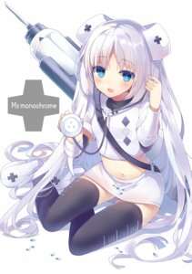 Rating: Safe Score: 92 Tags: mishima_kurone miss_monochrome miss_monochrome_(character) nurse thighhighs User: milumon