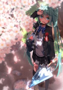 Rating: Safe Score: 12 Tags: aosaki_yato hatsune_miku seifuku sweater thighhighs umbrella vocaloid User: RyuZU