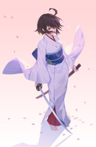 Rating: Safe Score: 48 Tags: fate/grand_order kara_no_kyoukai kimono nian ryougi_shiki sword User: Mr_GT