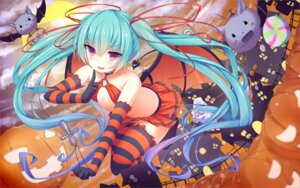 Rating: Safe Score: 73 Tags: cleavage halloween hatsune_miku no_bra papino tail thighhighs vocaloid wings User: Mr_GT